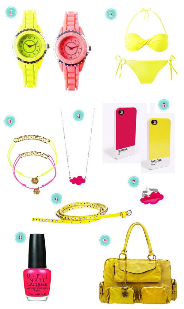 accessoires jaune rose fluo