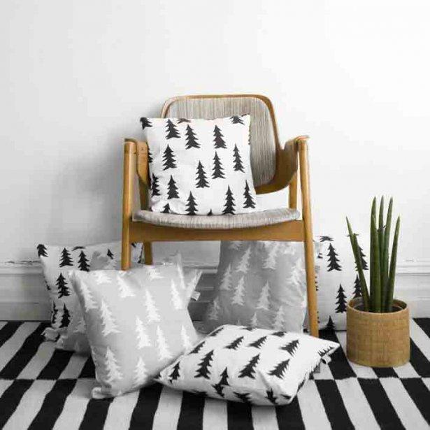coussins noir et blanc